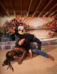 Capoeira Performers Twisting