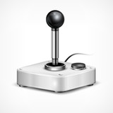 Retro joystick isolated on white background, vector illustration