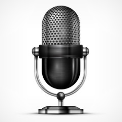 Metallic microphone isolated on white background, vector