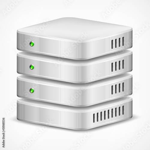 Database, computer hard disk isolated on white, vector