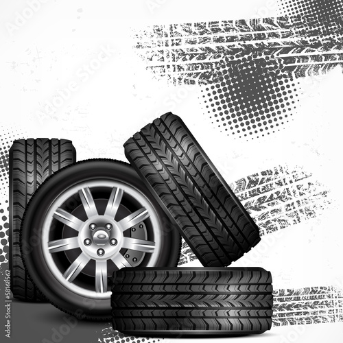 Car wheels and tire tracks grange on white, vector illustration