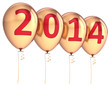 Happy New Year 2014 balloons party decoration gold