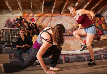 Crouching Capoeira Performer