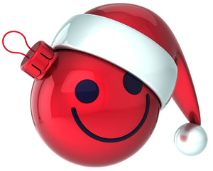 Smiley face Christmas ball red Happy New Year Santa