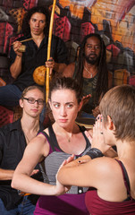 Serious Capoeira Woman Blocking