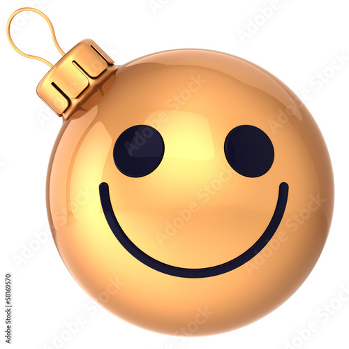 Christmas ball smiley face gold Happy New Year bauble smile