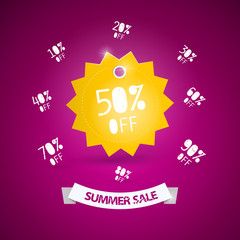 Summer sale vector theme, yellow sticker on violet background