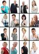Collage zufriedene, erfolgreiche Menschen