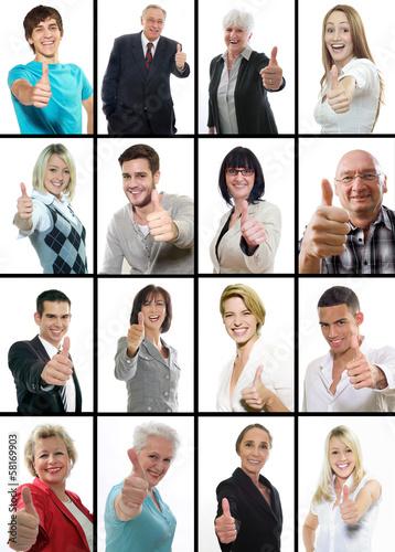 canvas print picture Collage zufriedene, erfolgreiche Menschen