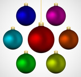 Set of colorful christmas vector baubles, isolated