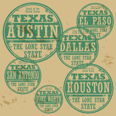 Grunge rubber stamp set with names of Texas cities