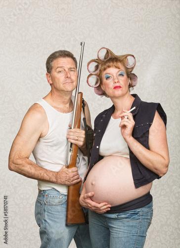 Smoking Pregnant Female Hillbilly