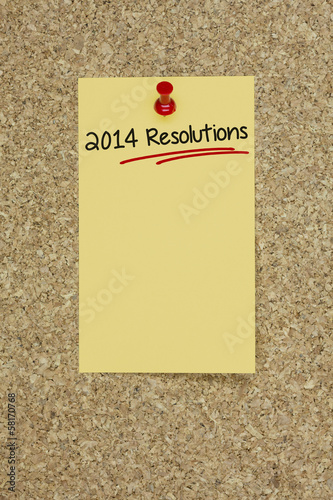 2014 Resolutions Cork board