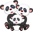 Panda bear family cartoon