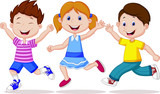 Happy children running