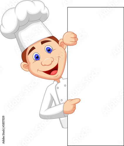 Happy chef holding blank sign