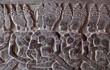 Ancient bas-relief at the facade of Angkor Wat
