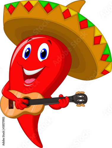 Chili pepper mariachi wearing sombrero playing a guitar