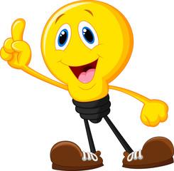 Cartoon light bulb pointing his finger