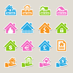 House insurance icons Set.