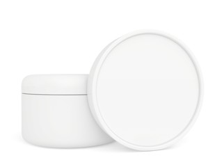 two white container with cream for face