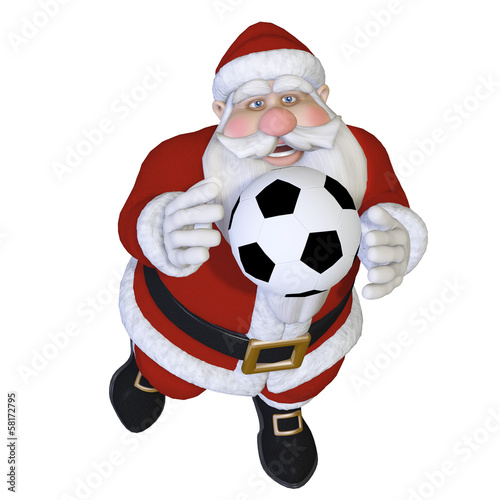 Santa playing football 3d