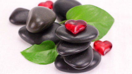 A pile of black spa therapy stones