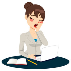 Exhausted Businesswoman Yawning