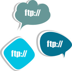 ftp. Set of stickers, labels, tags. Business banners