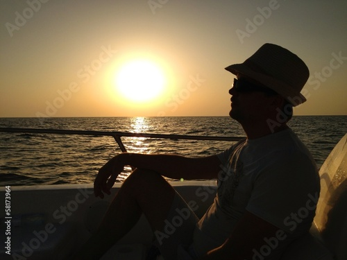 Man relaxing on the boat