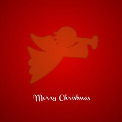 Christmas angel silhouette. Xmas greeting card