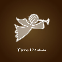 Christmas angel silhouette. Xmas greeting card