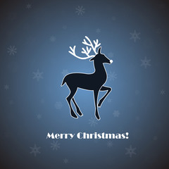Vector deer on blue background with snowflakes