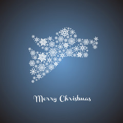 Christmas angel silhouette with snowflakes