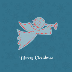 Christmas angel silhouette with snowflakes on the background