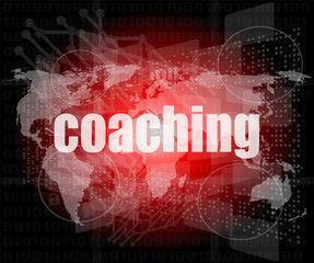 coaching word on touch screen, virtual technology