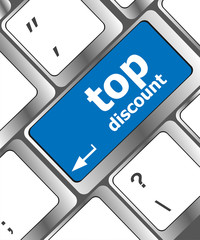 top discount concept sign on computer keyboard key