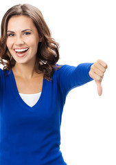 Woman showing thumbs down gesture, isolated