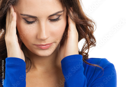 Thinking, tired or ill with headache young woman