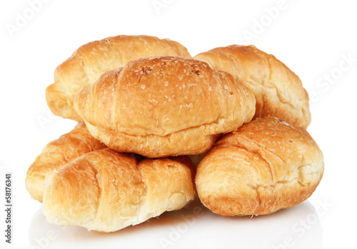 Tasty croissants isolated on white