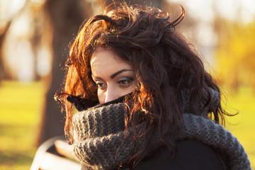 Sad, dark-haired woman