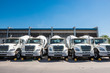 Concrete trucks parked in the city