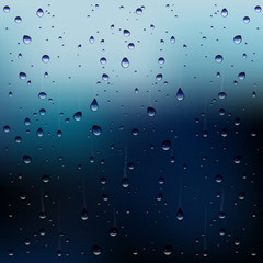 Vector raindrops on a window