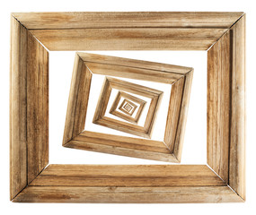 Abstract wooden picture frame composition