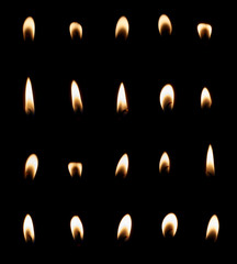 Candle flame set isolated
