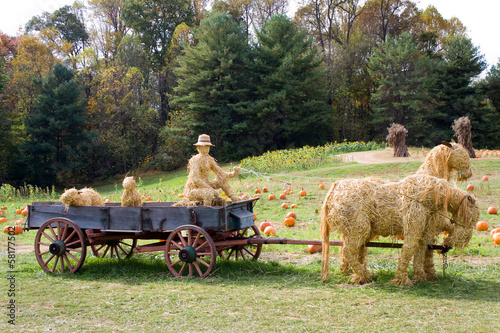 Straw Animals With Wagon