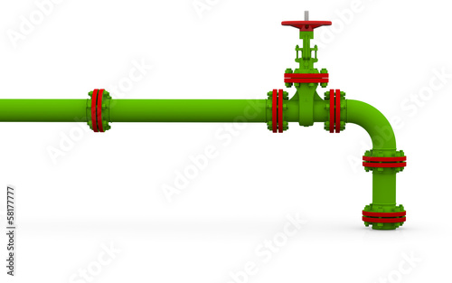 Green pipe and valve