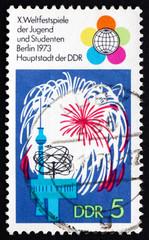 Postage stamp GDR 1973 Festival Emblem