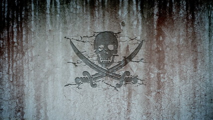 Jolly Roger, pirate symbol, appearing on a wall