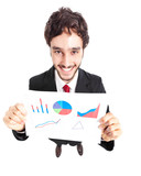 Smiling businessman showing a business plan